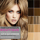 """15"""" Clip In Remy Human Hair Extensions Full Head 8 piece - All Colours"""