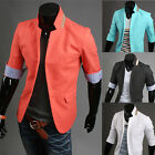 Korean Men One Button 3/4 Sleeve Blazer Cool Coat Jacket Autumn Outwear Overcoat