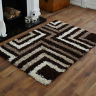 NEW LARGE MEDIUM SMALL 5cm HIGH PILE THICK NON SHED CHOCOLATE CREAM SHAGGY RUGS