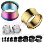 1Pair(2pcs) Stainless Steel Double Flare Flesh Ear Tunnels Plugs Earlets Gauges