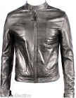 Men's New Grey Napa Soft Real Lambskin Italian Leather Biker Rock Zipper Jacket