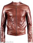 Men's New Brown Napa Soft Real Lambskin Italian Leather Biker Rock Zipper Jacket