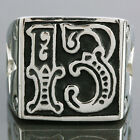 Unisex Goth Lucky Number13 Star Biker Gothic Punk Band Cool Stainless Steel Ring