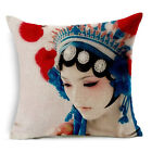 Pillow cushion pillowcase Flax Sofa new Peking Opera facebook female warrior 1pc
