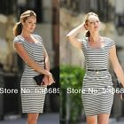 Summer Bodycon Women Black White Stripe Bodycon Casual Cocktail Party Dress Y745