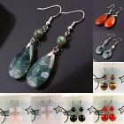 New Ear Jewelry Dangle Gemstone Stone Hook Earrings Agate Carnelian Rose Quartz