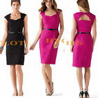 Formal Women Back Triangle Open Bodycon Pencil Evening Party Tunic Dress Y568