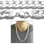 925 Sterling Silver Men's Flat Solid Cuban Curb Chain Necklace 14mm (350 Gauge)