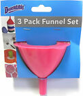 BRAND NEW 3 Piece Funnel Set Small Large Medium Kitchen Plastic Free Shipping