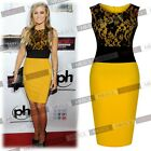 Womens Celeb Yellow Contrast Lace Cocktail Party Bodycon Dresses Daywears 810246
