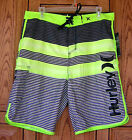 Hurley Black Gray Stripe Embroidered Logo Name O & O Warp Green Board Shorts RB