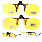 Unisex Retro Clip On Night Driver Driving Yellow Lens Sunglasses