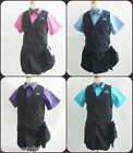 Black pinstripe purple fuchsia blue teal silver grey boy vest and tie short pant