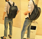 Good goods synthetic Leather Backpack Square Zipper Laptop Students Mens Bag