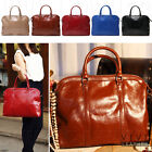 LEATHER Women BOWLER TOTE SATCHEL Large Soft Work Briefcase Shoulder Bag Handbag