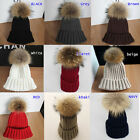Fashion Lady Warm Real Farm Ussuri Raccoon Fur Ball Knitting Beret Ski Cap Hats