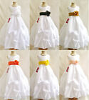 Lovely White black orange brown silver yellow flower girl evening party dress