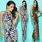Leopard Floral Curve Hugging Slit Women Full Length Evening Party Bodycon Dress