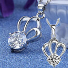 Charm Crown 925 Sterling Silver White/Purple Rhinestone Pendant Necklace Jewelry