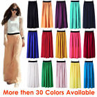 L Women Double Layer Chiffon Pleated Retro Long Maxi Dress Elastic Waist Skirt