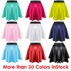 2XL Women Lady Satin Pleated Retro High Waist Shiny Mini Skirt Boho | 27 Color