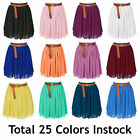 L Women Lady Chiffon Pleated Mini Skirts Retro High Waist Double Layer 25 Color