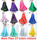 S Women Lady Satin Full Circle Belly Dance Skirt Costume Tribal Gypsy 27 Color