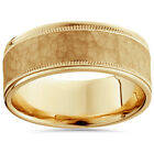 8MM Hammered Mens Wedding Band 14K Yellow Gold Solid Ring