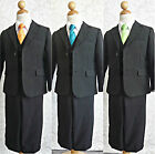 Boy black white brown orange yellow green tie bridal party formal suit all sizes