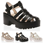 Womens New Chunky Ladies Cut Out Cleated Sole Summer Sandals Shoes Size 3-8