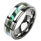 Men's 8mm Seashell Stripe Tungsten Carbide Wedding Ring Band Size 9 10 11 12