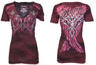 Archaic AFFLICTION Womens T-Shirt BRAVE Pink Wings Tattoo Biker Sinful S-XL $40