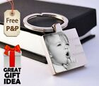 Metal Personalised Square Keyring Keychain PHOTO ENGRAVED Valentine's day Gift