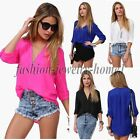 Sexy Fashion Women's Loose Chiffon V-Neck Tops Long Sleeve Shirt Casual Blouses