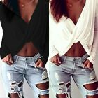 Womens Long Sleeve Deep V-neck Cross Twisted Crop Top Blouse Tee Casual Clubwear