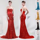Sparkly Mermaid Sequins Formal Bridesmaid Strapless Long Evening Party Dresses