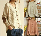 Beige Women's CrewNeck Knitted Pullover Jumper Loose Sweater Knitwear Glamour