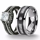 4 Pc His Titanium Hers Black Stainless Steel Wedding Engagement Rings Band Set