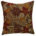 wf04a Brown Red Jungle Leaf Flower Jacquard Throw Pillow Case Cushion Cover*Size