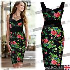 Hawaiian Floral Tropical Print Women's Stretch Bodycon Summer Prom Party Dresses