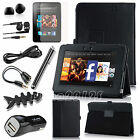 Black PU Leather Folio Cover Case+Accessory Bundles 8 in 1 For Kindle Fire HD 7""