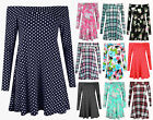 Ladies Floral Off Shoulder Swing Dress Womens Tartan Polka Dot Bardot Top 8-22