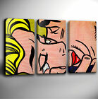 ROY LICHTENSTEIN 'KISS V' - TRIPLE PANEL GICLEE CANVAS ART *Choose your size