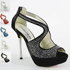 WOMENS LADIES DIAMANTE HIGH HEEL PROM PARTY WEDDING BRIDAL SHOES SIZE 3-8