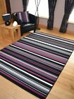 Black Purple Stripe Design Hall Runners Small Extra Large Long Carpet Rugs Cheap