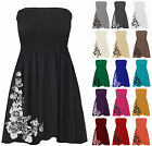 Ladies Shirred Rose Bandeau Mini Womens Strapless Boobtube Dress Size Plus 8-20