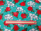 Skull chained Roses JADE 100% cotton Fabric material retro ./ vintage