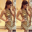 Fashion Sexy Women Leopard Backless Sleeveless Evening Party Mini Dress Ornate