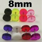 Clear Fake Cheater Ear Plug Earring 8mm Diameter - Choose Colour - Brand New