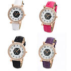 Women Totem Leather Bracelet Dial Rhinestone Quartz Lady Wrist Watch Ornate